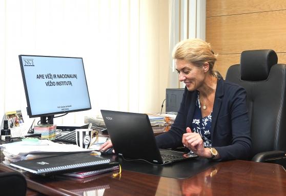 """Pažintis su NVI nuotoliniu būdu: projekto """"Moksleiviai į vyriausybę"""" dalyviai bendravo prof. Sonata Jarmalaite"""